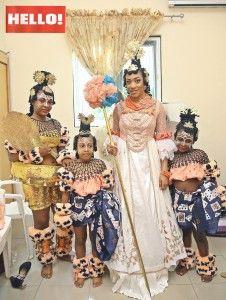 Efik bride with her helpers.