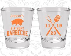 BBQ Birthday Shot Glasses, Barbecue Birthday Shot Glasses, Summer Birthday, Birthday Glasses (20253)