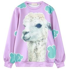 Choies Light Purple Cute Mud Horse Print Sweatshirt ($26) ❤ liked on Polyvore featuring tops, hoodies, sweatshirts, purple, purple top, purple sweatshirt, lavender top and horse sweatshirt