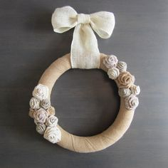 Modern burlap wrap wreath with cotton, linen and burlap flowers.  Lovely ivory loose weave burlap bow.  Display indoors or outdoors.