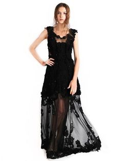 Ali Charisma - Rent: Ali Charisma Black Floral Lace & Tulle-The Dresscodes - 1