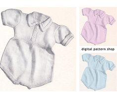 Baby Knitting Pattern Vintage 1940s Knit Romper Pattern Boys or Girls Instant Download PDF Size 2 3- K8