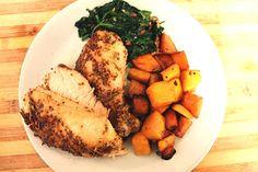 Honey Dijon & Rosemary Chicken, roasted butternut  and garlic spinach