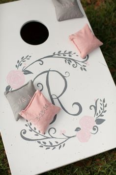 love these blush pink & gray cornhole games!  so nice!  ~  we ❤ this! moncheribridals.com