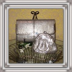 Metallic Mesh Handbags Lot of 2 handbags. Flaws are pictured. Bigger one is much older and has wear on the inside corners, and interior is aged. Large one has linked chain strap and small one has a snake chain. All hardware works great. Mark Bags Mini Bags
