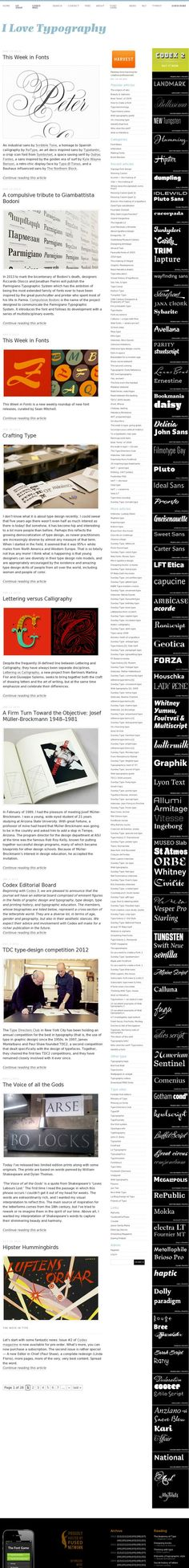 ilovetypography.com webpage used for initial experiments.