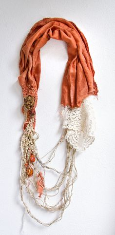 Recycled linen fabric and hemp necklace with stones and handmade vintage lace