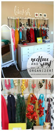 jewelry accessory wall --organize your necklace and scarf with hooks--for cheap! Great diy