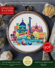 This is modern cross-stitch pattern of Venice for instant download. A cool tip to decorate your living room. You will get 7-pages PDF file, which includes: - main picture for your reference; - colorful scheme for cross-stitch; - list of DMC thread colors (instruction and key