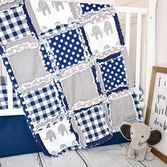 Elephant Baby Boy Crib Bedding - Navy Blue / Gray Nursery - Crib Bedding - A Vision to Remember