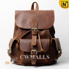 CWMALLS® Vintage Leather Flap Backpack CW915752 - Shop vintage leather flap backpack for the Valentines' Day gift, it is crafted from genuine calfskin leather and designed in multiple flap pockets with buckle straps, quite stylish and practical for your daily use, don't miss this vintage leather backpack for your beloved one.