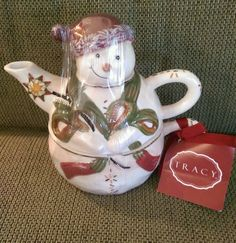 Tracy tea pot and cup for one snowman #tracy