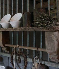 Zwaar metalen met houten wandrek handdoekenrek schap kapstok landelijk industrieel keuken - Deco oude keuken ...