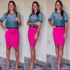 Look de trabalho - Look do dia - saia lápis pink - camisa e saia lápis