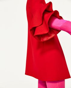 Image 4 of FRILLED SLEEVE COAT from Zara