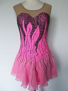 New Ice Skating Twirling Dress Custom Made to Fit | eBay Figure Skating Competition Dresses, Figure Skating Outfits, Figure Skating Costumes, Figure Skating Dresses, Girls Dance Costumes, Dance Outfits, Skate Wear, Ballroom Dress, Poses