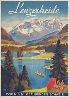 Vintage Travel Poster by Carl Moos: Lenzerheide, Switzerland