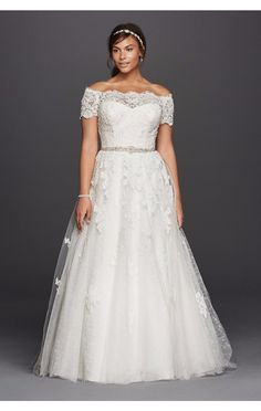 Jewel Scalloped Sleeve Off the Shoulder Plus Size Lace Wedding Dress 9WG3728 with Beaded Sashes