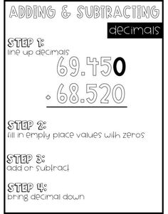 Decimal Anchor Charts Bundle - Adding and Subtracting Decimals Anchor Chart for grade. Print as a big poster or glue mini versions in math notebooks! Utilizing Index charts as well as Topographical Roadmaps Multiplication Anchor Charts, Math Charts, Math Anchor Charts, Dividing Fractions, Multiplying Fractions, Equivalent Fractions, Adding Decimals, Adding And Subtracting, Sixth Grade Math