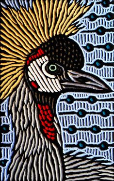 This would make a great needlepoint canvas!  Crowned Crane Lisa Brawn