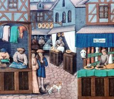 Detail of shops lining a medieval street, in artwork from a 15th-century French book.