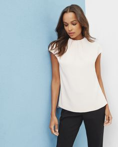 Crepe gathered high neck top - Natural | Tops & T-shirts | Ted Baker