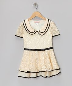Take a look at this Off-White & Black Floral Lace Collar Dress - Toddler & Girls on zulily today!