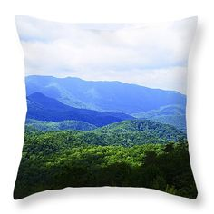 """Great Smoky Mountains 14"""" x 14"""" Throw Pillow by Christi Kraft, $37.  Multiple sizes available."""