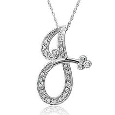 14k White Gold Alphabet Initial Letter J Diamond Pendant Necklace (HI, SI3-I1, 0.12 carat)