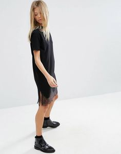 ASOS Tshirt Dress with Lace Inserts