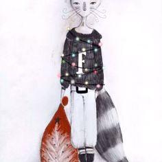 """""""A casa mia le lucciole non ci sono solo d'estate, ma anche d'inverno: se ne stanno al calduccio davanti alla stufa ed a Natale fanno festa sul mio maglione!"""" . #signorfox #childrenillustration #fox #christmaslights #illustration #christmas"""