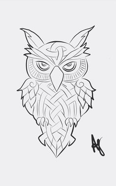 #owl #geometric #shapes #hoot  Find us on Facebook Tattoos/Art by Andi; email address andiarts04@gmail.com. Columbus, OH area tattoo's #tattoo #Columbus #art #artist Celtic Patterns, Celtic Designs, Celtic Tattoos, Viking Tattoos, Diy Tattoo, Chaos Tattoo, Owl Tattoo Drawings, Sunflower Tattoo Small, Dream Catcher Art