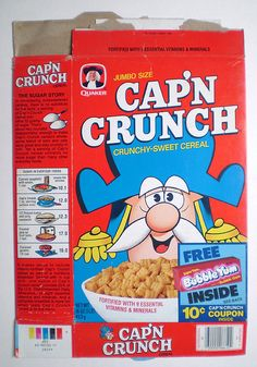 Crunch Cereal, Bowl Of Cereal, Cap'n Crunch, Cereal Boxes, Plywood Furniture, Balloon Door, Bubble Yum, Cereal Killer, Breakfast Of Champions