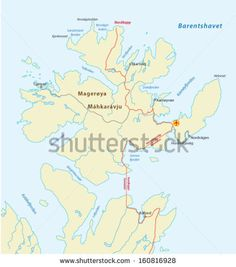 north cape, norway map - stock vector