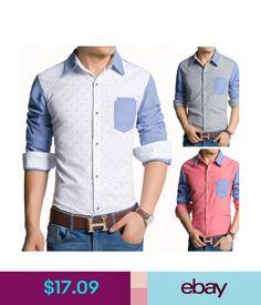 Casual Shirts E6229 5 Color Men's Fashion Polka Dot Stylish Casual Slim Fit Dress Shirts #ebay #Fashion