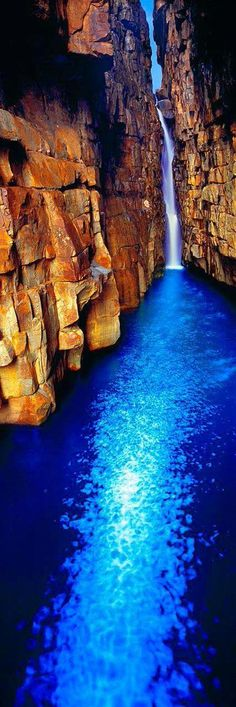 Beautiful waterfall into a sapphire pool - Kimberley coast gorge, Western Australia Places Around The World, Oh The Places You'll Go, Places To Travel, Travel Destinations, Places To Visit, Around The Worlds, Vacation Places, Beautiful Waterfalls, Beautiful Landscapes