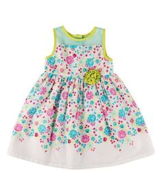 NWT Girl PENELOPE MACK Floral Print Clip Dot Rosette A-Line Babydoll Dress 2T 3T #PenelopeMack #ALine #CasualParty