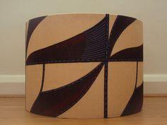 Cream and Brown Handmade Ankara African Wax Print Lampshade with abstract triangles pattern by AnkaraLampshades