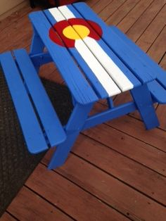 hand painted kids picnic table with Colorado flag