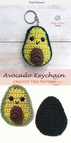 Avocado Keychain Crochet Free Pattern #freecrochetpatterns