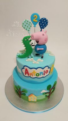 2nd Birthday Party For Boys, Peppa Pig Birthday Cake, Birthday Party Snacks, Bolo George Pig, George Pig Party, Aniversario Peppa Pig, Beautiful Birthday Cakes, Cakes For Boys, Cake Designs