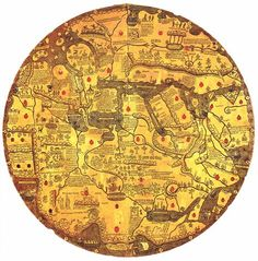 "Mappa mundi Vatican Library Ms. Borg. lat. XVI (about 1430), also known as ""Tavola di Velletri"