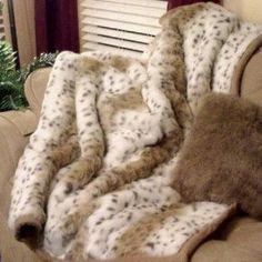 Posh Pelts Posh Pelts-White Goose Down Pillow Insert 30% Down - Lynx Jacquard Faux Fur Throw Blanket and Pillow