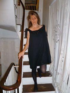 SHIFT dresslong A line black double layered linen by HallHarris, $113.00