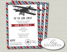 Vintage Airplane Invitations  Up Up And Away by ShySocialites, $15.00