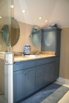 Our friends at Palmetto Cabinet Studio in South Carolina designed this Showplace. What used to be an oversized closet makes for a welcoming guest bath. Your hard work and dedication is very much appreciated.  Learn more about Palmetto Cabinet Studio: http://www.palmettocabinetstudio.com/ Learn more about the versatile palette of Showplace painted finishes: http://www.showplacewood.com/ProdGuide1/PGantq/PGantq.html