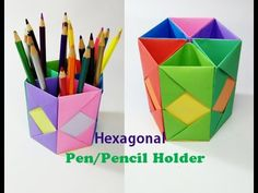 How to Make Pen Stand || Origami Pen Holder || Paper Pencil Holder||Hexagonal Pen Holder - YouTube