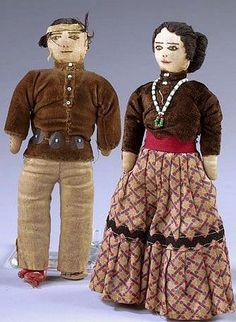 Pair of Navajo Dolls, ca 1920 Native American Dolls, Native American Wisdom, Native American Crafts, American Indian Art, Native American History, Native American Indians, Native Americans, Madame Alexander, Antique Dolls