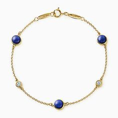 Tiffany Elsa Peretti Color By The Yard Bracelet In Gold With Diamonds And Lapis Lazuli.
