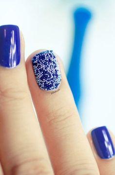 Blue caviar accent nail